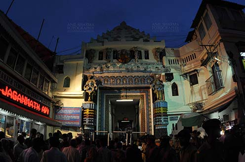 Festivals- Jagannath Rath Yatra (Odisha) - The Lion's Gate (Simhadwara) in front of the Jagannath Temple, decorated and dimly lit, for Jagannath Rath Yatra festival at Puri, Odisha, India. by Anil