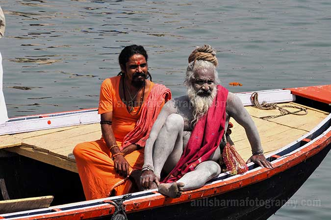 Culture- Naga Sadhu\u2019s (India) - Two Naga Sadhu's on the boat in Varanasi by Anil