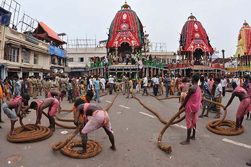 Festivals- Jagannath Rath Yatra (Odisha) - Preparation for the Lord Jagannath Rath Yatra at Puri, Odisha, India. by Anil