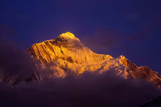 Mountains-  Nanda Devi East (India) - Snow covered Golden Nanda Devi East in Kumaon Himalalyas in Uttarakhand, India. by Anil