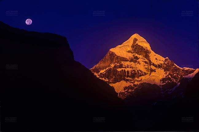 Mountains- Neelkanth Peak (India) - Golden Neelkanth Peak with full moon in the blue sky, Garhwal, Uttarakhand, India. by Anil