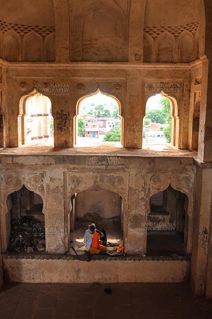Monuments- Palaces and Temples of Orchha - Orchha, Madhya Pradesh, India- August 20, 2012: Interior hall of the Chaturbhuj Temple Orcha, Madhya Pradesh, India. by Anil