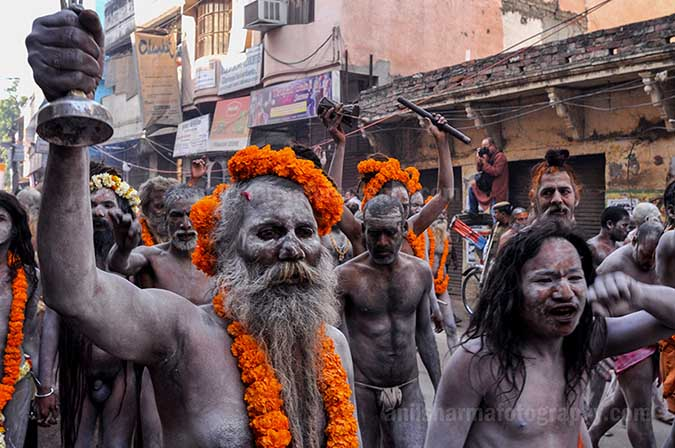 Culture- Naga Sadhu\u2019s (India) - A Procession of Naga Sadhu's passing through the streets of Varanasi. by Anil