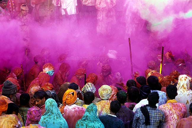 Festivals- Lathmaar Holi of Barsana (India) - Lagre number of people gathered sprinkle colored powder, singing, dancing during Lathmaar Holi celebration at Barsana, Mathura, India. by Anil