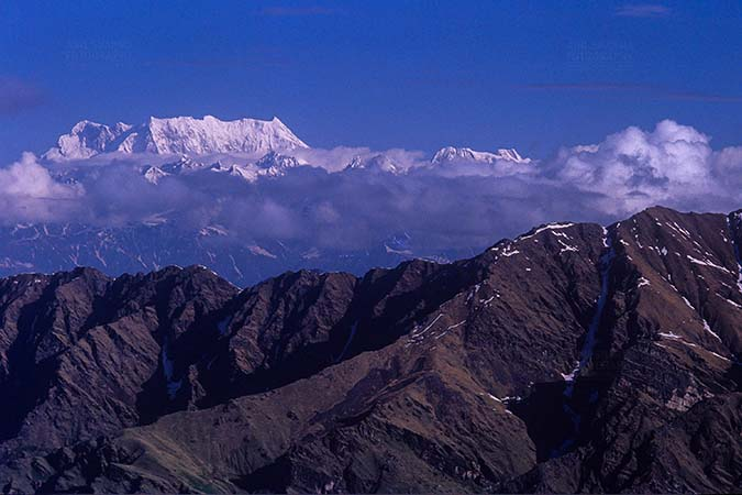 Mountains- Chaukhamba Peaks (India) - Snow covered Chaukhamba Peak in Garhwal Himalayas in Uttarakhand India. by Anil