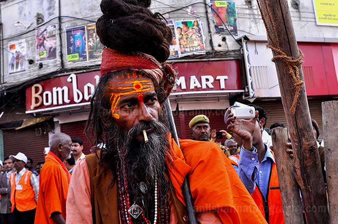 Culture- Naga Sadhu\u2019s (India) - A long hair Naga Sadhu with Tikal on forehead in Varanasi city. by Anil