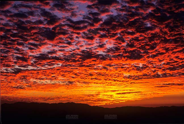 Clouds- Sky with Clouds (Binsar) - Sky with Clouds, Binsar, Uttarakhand, India- 28 July, 2006: Dark sky with red-orange color clouds, sunset scene at Binsar, Uttarakhand, India. by Anil Sharma Fotography