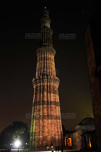 Monuments- Qutab Minar in Night, New Delhi, India. - The Beauty of Qutub Minar in night at Qutub Minar Complex, Mehrauli , New Delhi, India. by Anil
