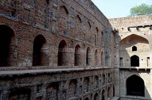 Monuments: Agrasen ki Baoli or Stepwell at New Delhi - Agrasen Ki Baoil has been constructed by putting together uneven stone units, known as rubble masonry at Hailey Road near Connaught Place, New Delhi, India.