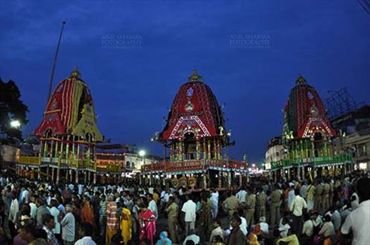 The chariots of Lord Jagannath, Balbhadra and Subhadra traditionally decorated, parked in front of the Jagannath temple at Puri, Odisha, India.