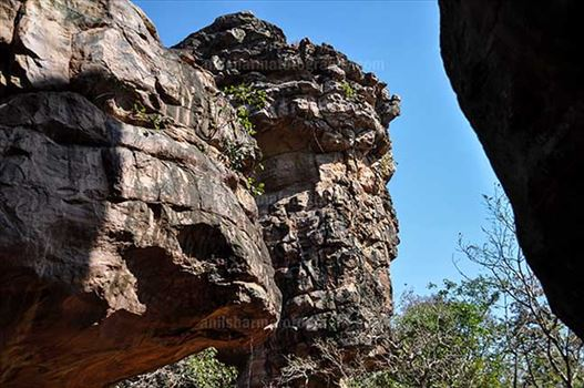 Archaeology- Bhimbetka Rock Shelters (India) - Bhimbetka Rock Shelters at Bhimbetka archaeological site at Raisen, Madhya Pradesh, India.