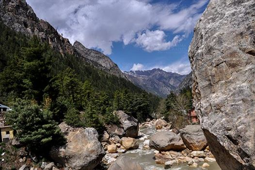 Gangotri, Uttarakhand, India- May 13, 2015: Beautiful view of Gangotri valley at Gangotri, Uttarkashi, Uttarakhand, India.