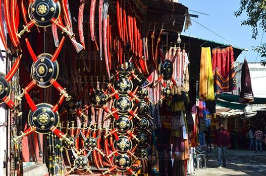 Pushkar, Rajasthan, India- January 16, 2018: A shop of traditional Rajasthani swords at Pushkar, Rajasthan, India.