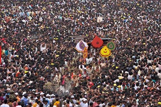 Huge crowd of Devotees on the occasion of Rath Yatra at Puri, Odisha, India.