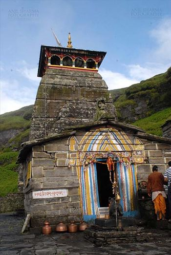 Tungnath, Chopta, Uttarakhand, India- August 18, 2009: Devotees at the Main Tungnath temple complex at Tungnath, Chpota, Uttarakhand, India.