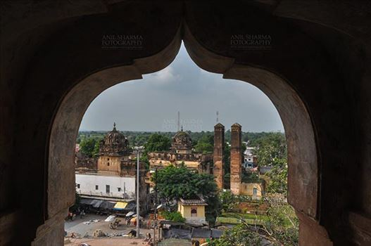 Orchha, Madhya Pradesh, India- August 20, 2012: View from a carved window of Chaturbhuj temple, Orchha, Madhya Pradesh, India.