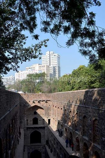 "Monuments: Agrasen ki Baoli or Stepwell at New Delhi - The picture of historic ""Agrasen Ki Baoli"" (Baoli means step well) at Hailey Road, Connaught Place, New Delhi, India"