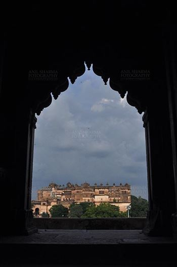 Orchha, Madhya Pradesh, India- August 20, 2012: Jahangir Mahal, Citadel of Jahangir, viewed from Chaturbhuj Temple, Orchha, Madhya Pradesh, India.