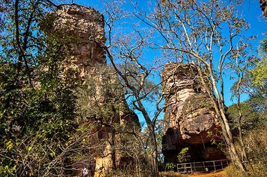 Archaeology- Bhimbetka Rock Shelters (India) - View of Rock Shelters at Bhimbetka archaeological site at Raisen District, Madhya Pradesh, India.
