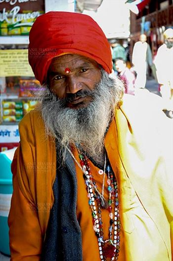 Gangotri, Uttarakhand, India- May 13, 2015: An old shadhu at Goddess Ganga Temple at Gangotri, Uttarakhand, India.