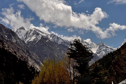 Gangotri, Uttarakhand, India- May 15, 2013: : Snow covered Himalalyan peaks all around at Bhagirathi valley at Gangotri, Uttarkashi, Uttarakhand, India.