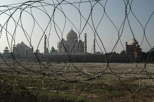 Monuments- Taj Mahal, Agra (India) - Barbed-wire fencing at Taj Mahal to protect it from terrorist attacks.