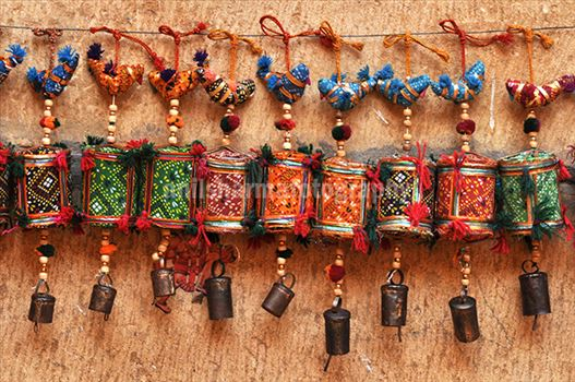 Festivals- Jaisalmer Desert Festival, Rajasthan - Handicraft items for sale at the Jaisalmer Desert festival.