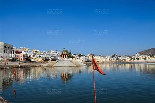 Pushkar, Rajasthan, India- January 16, 2018: Hindu Pilgrimage site of Pushkar with old buildings, temples, ghats and Holy Pushkar Sarovar at Rajasthan, India.