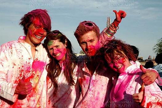 Festivals- Holi and Elephant Festival (Jaipur) - Foreign tourists enjoying Holi and Elephant Festival at jaipur, Rajasthan (India).