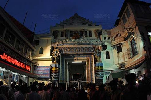 The Lion's Gate (Simhadwara) in front of the Jagannath Temple, decorated and dimly lit, for Jagannath Rath Yatra festival at Puri, Odisha, India.