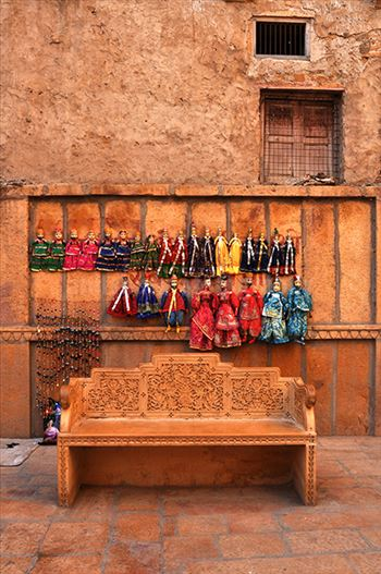 Rajasthani puppets for sale in Jaisalmer.