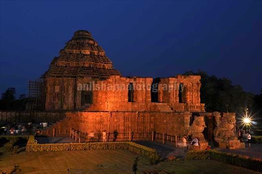The Beauty of ancient Konark Sun Temple in flood lights at night (a UNESCO world heritage site) near Bhubaneswar, Orissa, (India)