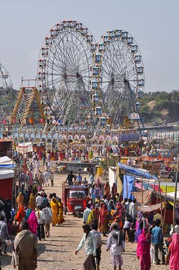 Baneshwar, Dungarpur, Rajasthan, India- February 14, 2011: Joy ride on Ferris wheel is the other attraction for the tourists and devotees at Baneshwar, Dungarpur, Rajasthan, India.