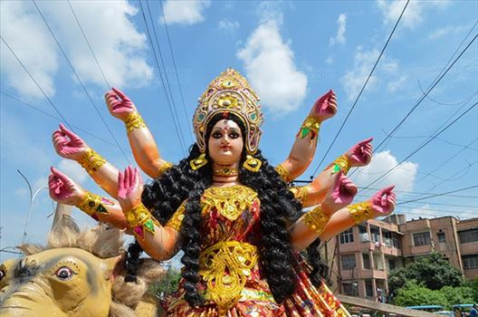 Festivals- Durga Puja Festival - Durga Puja festival marks the victory of Goddess Durga over the evil buffalo demon Mahishasura marking the triumph of Good over Evil.