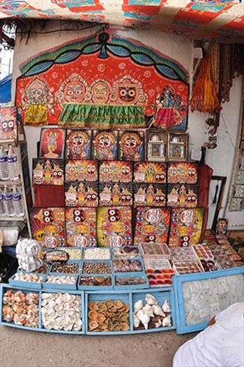 Festivals- Jagannath Rath Yatra (Odisha) - Memento of Lord Jagannath, Balbhadra and Subhadra on display at the shop near Lord Jagannath Temple at Puri, Odisha, India.