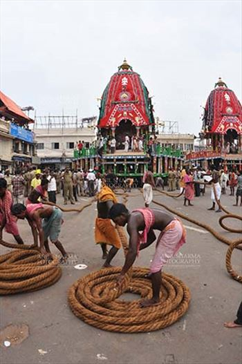 Festivals- Jagannath Rath Yatra (Odisha) - Preparation for the Lord Jagannath Rath Yatra at Puri, Odisha, India.