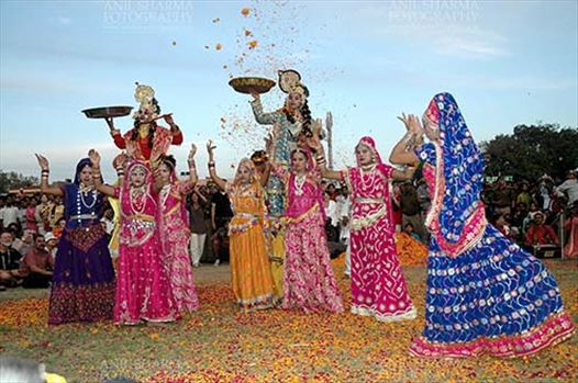 Festivals- Holi and Elephant Festival (Jaipur) - Rajasthani folk artists performing Radha-Krishana Leela at Holi and Elephant Festival at jaipur, Rajasthan (India).