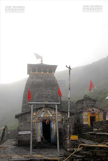 Tungnath, Chopta, Uttarakhand, India- August 18, 2009: Tungnath Temple complex in mist  at Tungnath, Chpota, Uttarakhand, India.