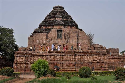General View of ancient Konark Sun Temple is one of the grandest temples of India and was referred to as the Black Pogoda is near Bhubaneswar, Orissa, India.
