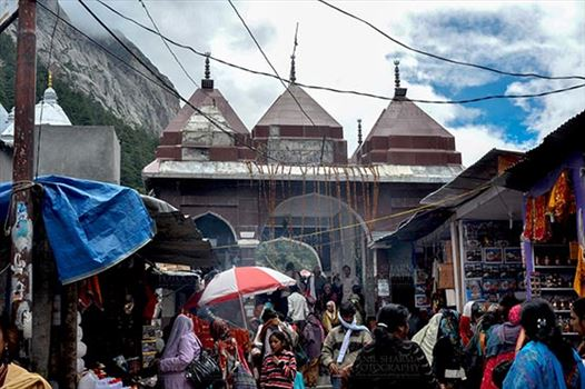 Gangotri, Uttarakhand, India- June 14, 2013: Main entrance gate of Goddess Ganges Temple at Gangotri, Uttarkashi, Uttarakhand, India.
