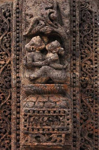 Richly carved erotic sculptures at Konark Sun Temple a UNESCO world heritage site near Bhubaneswar, Orissa, India.