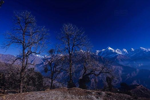 Mountains- Panchuchuli Peaks (India) - Panoramic view of Panchchuli Peaks from Munsyari at Uttarakhand, India.