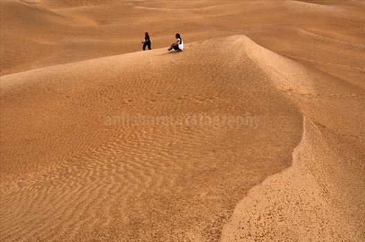Festivals- Jaisalmer Desert Festival, Rajasthan - Tourists enjoying the beauty of golden sand dunes of Thar desert in Jaisalmer.