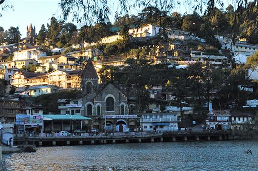 Travel- Nainital (Uttarakhand) - Nainital, Uttarakhand, India- November 13, 2015: The beauty of Naini Lake and Tallital Bus stand area early in the morning at Tallital, Nainital, Uttarakhand, India.