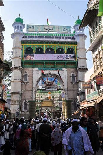 Religion- Dargah Sharif, Ajmer, Rajasthan (India) - Main entrance viewed from market, Ajmer Sharif Dargah the Mausoleum of Moinuddin Chishti, a sufi saint from India at Ajmer, Rajasthan, India.