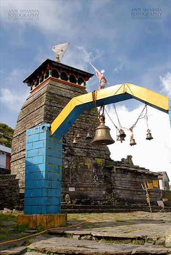 Tungnath, Chopta, Uttarakhand, India- August 18, 2009: Hanging bells at the Tungnath Temple main entrance  at Tungnath, Chpota, Uttarakhand, India.