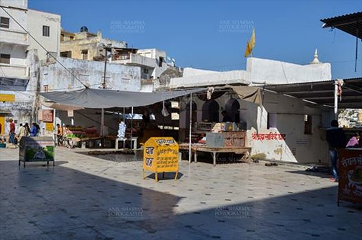Pushkar, Rajasthan, India- January 16, 2018: Buildings and shops at the holy Pushkar Sarovar, Hindu Pilgrimage site, at Rajasthan, India.
