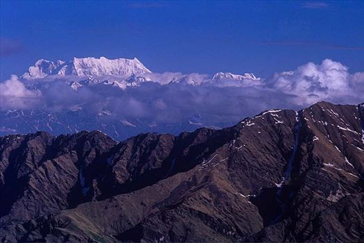 Mountains- Chaukhamba Peaks (India) - Snow covered Chaukhamba Peak in Garhwal Himalayas in Uttarakhand India.