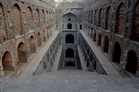 "Monuments- Agrasen ki Baoli or Stepwell, New Delhi - 5000 years old Historic ""Agrasen Ki Baoli"" situated at Hailey Road near Connaught Place, New Delhi, India."