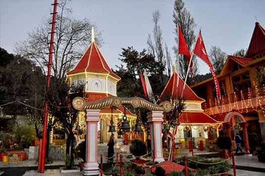 "Travel- Nainital (Uttarakhand) - Nainital, Uttarakhand, India- November 11, 2015: The beauty of Naina Devi Temple early in the morning on Diwali "" The festival of lights"" at Nainital, the temple devoted to Maa Naina Devi is situated right on Naini Lake at Mallital, Nainital, Uttarakhand,"